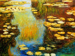 "CLAUDE MONET - WATER LILIES IN SUMMER 36X48 "" OIL PAINTING – image 2"