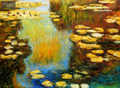 "CLAUDE MONET - WATER LILIES IN SUMMER 36X48 "" OIL PAINTING – image 1"