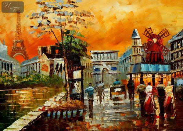 Modern Art - Parisian Collage 30x40 cm Oil Painting