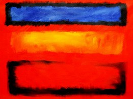 "BAUHAUS - BLUE TO YELLOW TO RED 36X48 "" OIL PAINTING – image 2"