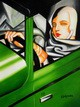 "HOMAGE TO T. DE LEMPICKA - TAMARA IN THE GREEN BUGATTI 12X16 "" OIL PAINTING – image 2"