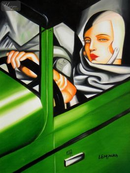 "HOMAGE TO T. DE LEMPICKA - TAMARA IN THE GREEN BUGATTI 12X16 "" OIL PAINTING – image 1"