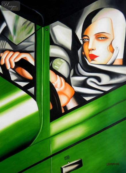 "HOMAGE TO T. DE LEMPICKA - TAMARA IN THE GREEN BUGATTI 32X44 "" OIL PAINTING – image 1"