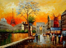 "MODERN ART - PARISIAN COLLAGE 32X44 "" OIL PAINTING – image 2"