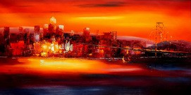 "MODERN ART - GOLDEN GATE BRIDGE AT SUNSET 24X48 "" OIL PAINTING – image 2"
