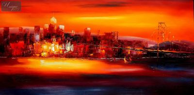 Modern Art - Golden Gate Bridge At Sunset 60x120 cm Oil Painting