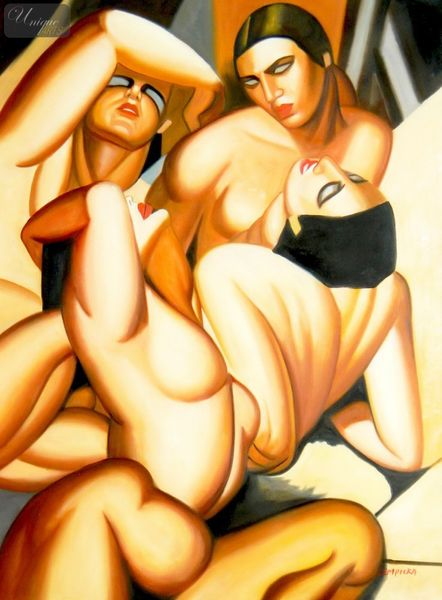 "HOMAGE TO TAMARA DE LEMPICKA - ANDROMEDA 36X48 "" OIL PAINTING ART DECO – image 1"