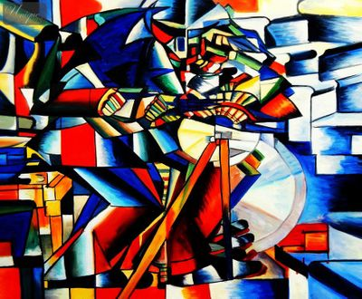 "KAZIMIR MALEVICH - KNIFE SHARPENER 20X24 "" OIL PAINTING – image 1"