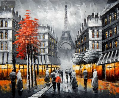 "MODERN ART - STREET SCENE IN PARIS 20X24 "" OIL PAINTING – image 1"