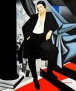 """HOMAGE TO T. DE LEMPICKA - DUCHESS DE LA SALLE 20X24 """" OIL PAINTING – image 2"""