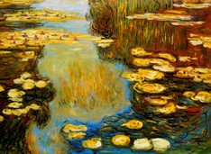 Claude Monet - Water Lilies In Summer 80x110 cm Reproduction Oil Painting – image 2