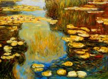 Claude Monet - Water Lilies In Summer 80x110 cm Reproduction Oil Painting 001