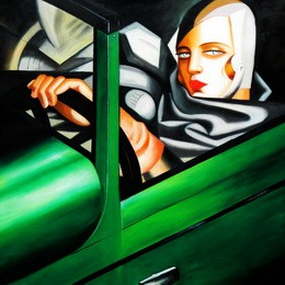 "HOMAGE TO T. DE LEMPICKA - TAMARA IN THE GREEN BUGATTI 48X48 "" OIL PAINTING – image 2"
