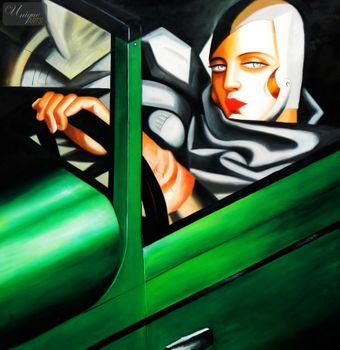 "HOMAGE TO T. DE LEMPICKA - TAMARA IN THE GREEN BUGATTI 48X48 "" OIL PAINTING – image 1"