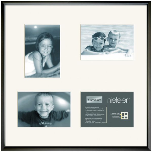 NIELSEN Gallery Junior 40x40 cm 4 Aperture Black Picture Frame