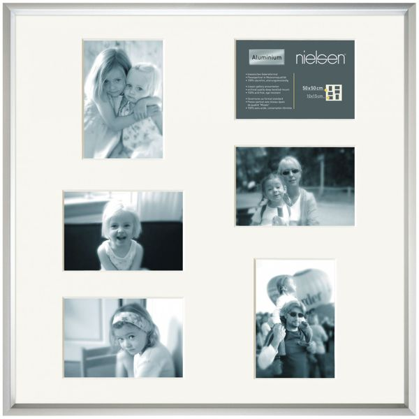 NIELSEN Gallery Junior 50x50 cm 6 Aperture Frosted Silver Picture Frame