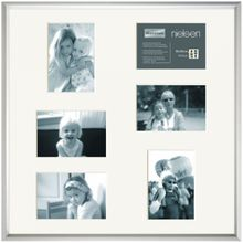NIELSEN Gallery Junior 50x50 cm 6 Aperture Frosted Silver Picture Frame 001