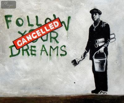 "Homage To Banksy - Follow Your Dreams 20X24 "" Oil Painting – image 1"