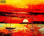 Modern Art - Red Sunset By The Sea 50x60 cm Oil Painting  001