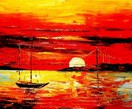 Modern Art - Red Sunset By The Sea 50x60 cm Oil Painting  – image 2
