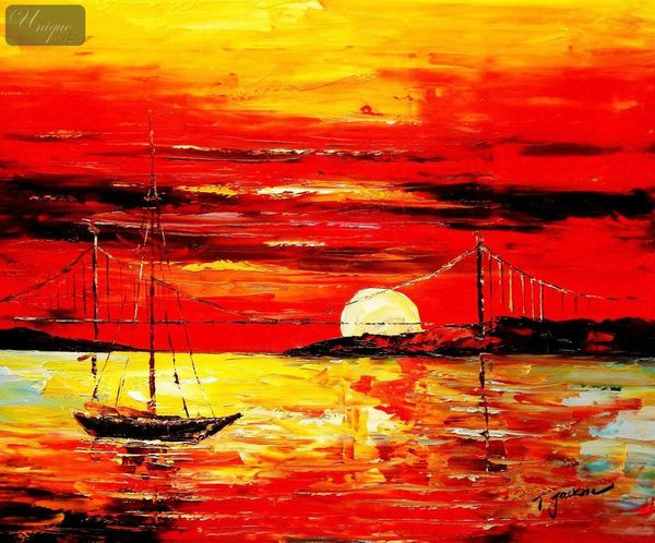 Modern Art - Red Sunset By The Sea 50x60 cm Oil Painting