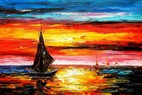 Modern Art - Red Sunset By The Sea 60x90 cm Oil Painting  – image 2