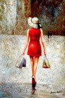 "Modern Art - Shopping Queen 24X36 "" Oil Painting – image 2"