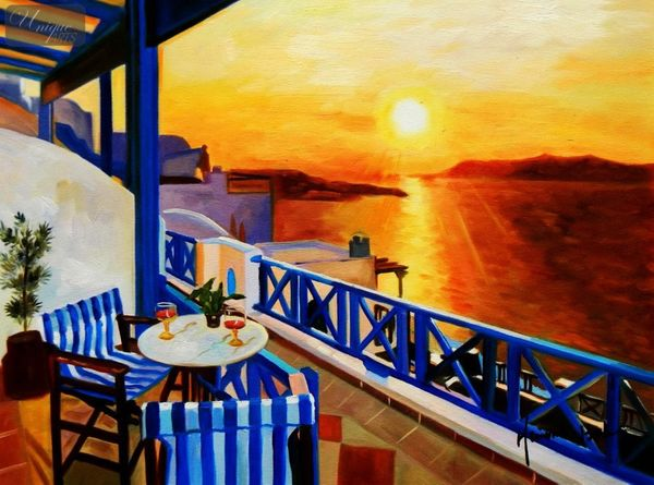 Modern Art - Sunset From A Terrace In Greece 30x40 cm Oil Painting