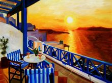 Modern Art - Sunset From A Terrace In Greece 30x40 cm Oil Painting 001