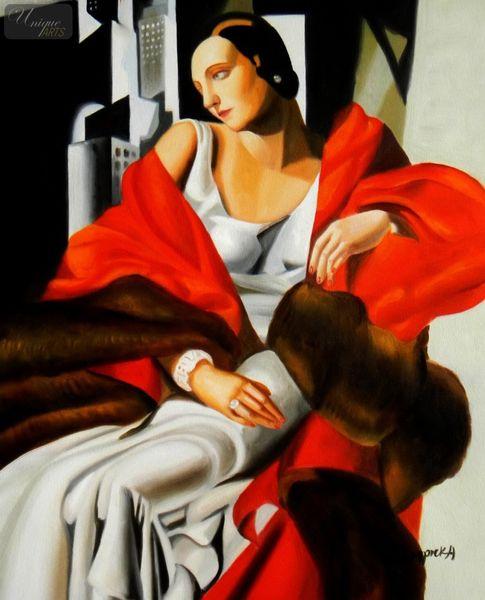 """Homage To T. De Lempicka - Portrait Of Madame Boucard 16X20 """" Oil Painting – image 1"""