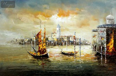 "Modern Art - Venice At Dawn 24X36 "" Oil Painting – image 1"