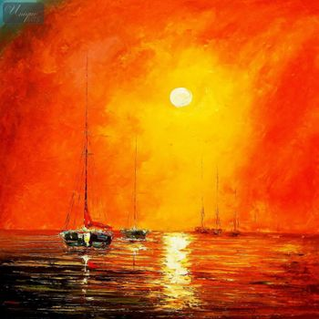 "Modern Art - Red Sunset By The Sea 48X48 "" Oil Painting  – image 1"
