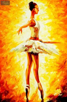"Modern Art - Ballet Fire 24X36 "" Oil Painting – image 1"