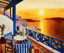 Modern Art - Sunset From A Terrace In Greece 50x60 cm Oil Painting – image 2