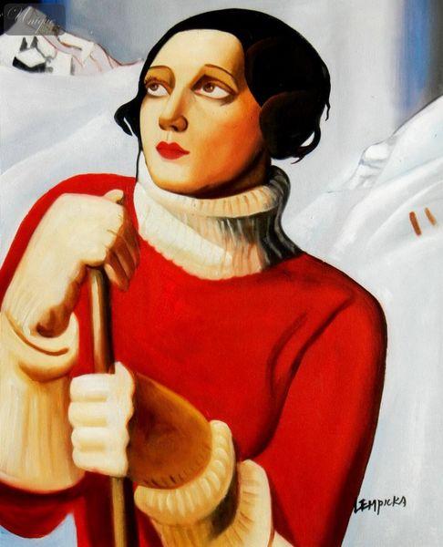 "Homage To T. Lempicka - Sain Moritz 16X20 "" Oil Painting – image 1"