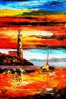 "Modern Art - Red Sunset By The Sea 24X36 "" Oil Painting  – image 2"