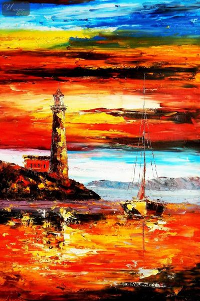Modern Art - Red Sunset By The Sea 60x90 cm Oil Painting  – image 1