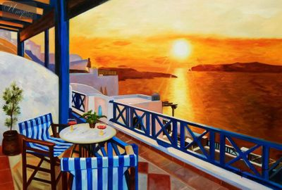 "Modern Art - Sunset From A Terrace In Greece 24X36 "" Oil Painting – image 1"