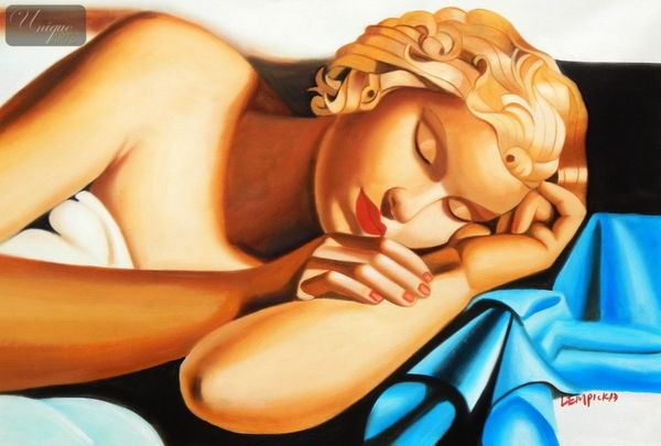 "Homage To Tamara De Lempicka - The Sleeper 24X36 "" Oil Painting"
