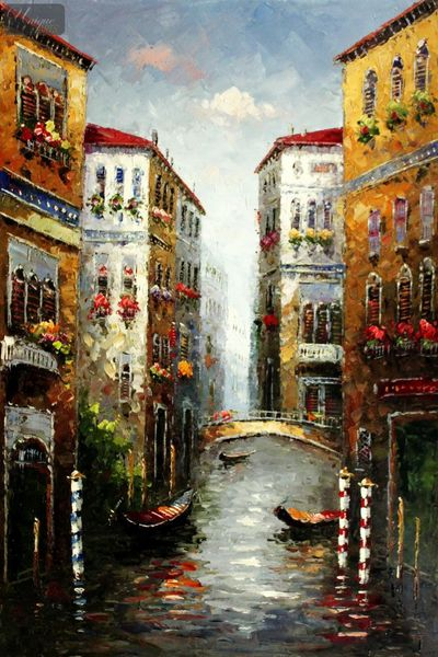 "Gondola In Venice 24X36 "" Oil Painting"