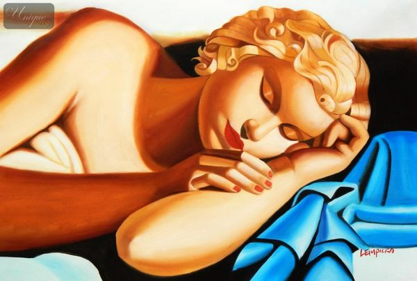 "Homage To Tamara De Lempicka - The Sleeper 24X36 "" Oil Painting – image 1"