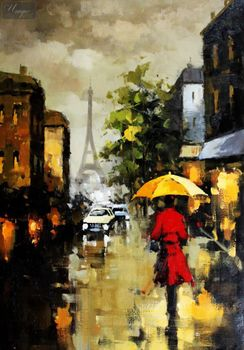 "Modern Art - Sleepless In Paris 24X36 "" Oil Painting – image 1"
