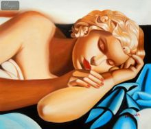 "Homage To Tamara De Lempicka - The Sleeper 20X24 "" Oil Painting 001"