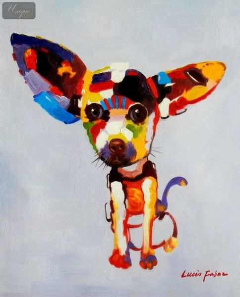 "Modern Art - Cute Chihuahua Dog 16X20 "" Oil Painting – image 1"