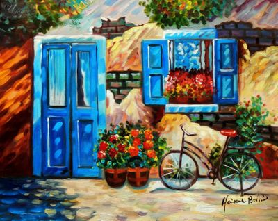 "Carmen Garcias Bicycle 16X20 "" Oil Painting – image 1"