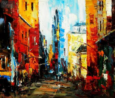 "Modern Art - The Streets Of Brooklyn 20X24 "" Oil Painting – image 1"