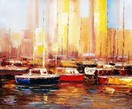 "Modern Art - Marina At Montreal 20X24 "" Oil Painting – image 2"