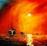 "Modern Art - Red Sunset By The Sea 32X32 "" Oil Painting  001"