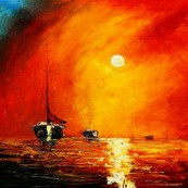 "Modern Art - Red Sunset By The Sea 32X32 "" Oil Painting  – image 2"