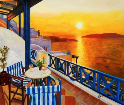 "Modern Art - Sunset From A Terrace In Greece 20X24 "" Oil Painting – image 1"